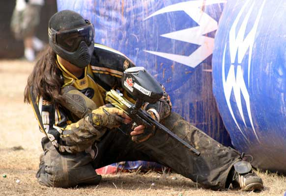 Chris Lasoya playing pro paintball with LA Infamous