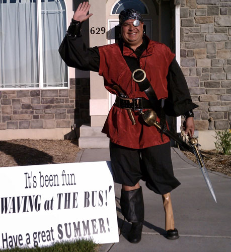 Paintball player Dale Price in a pirate costume