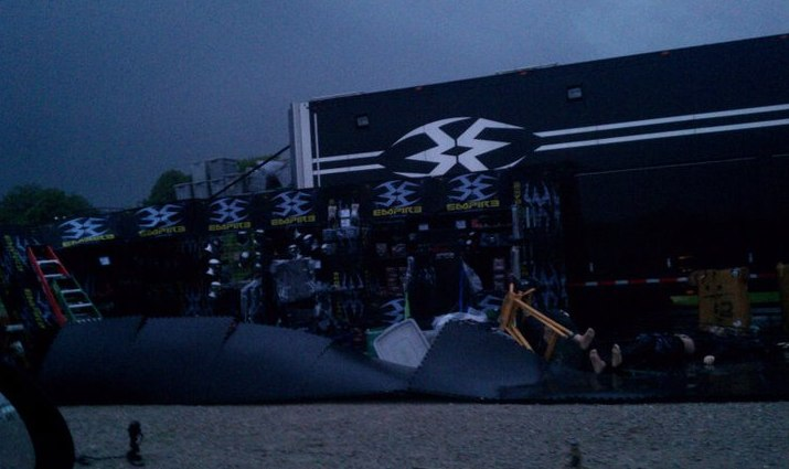 Empire Paintball booth damaged by bad weather