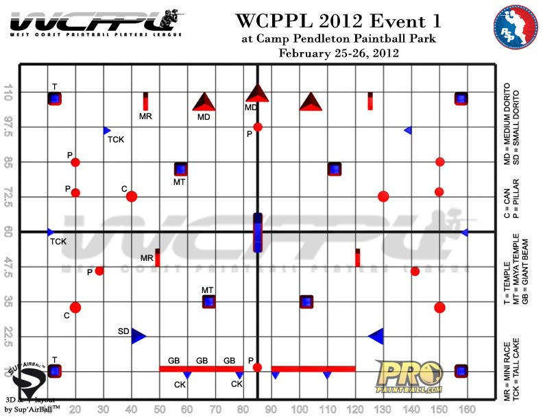 West Coast Paintball Players League Field Layout 1, Grid View