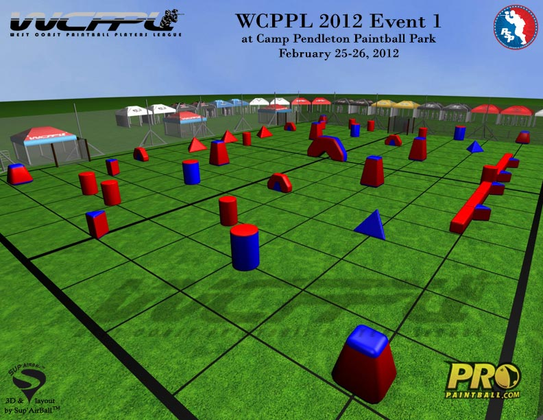 West Coast Paintball Players League Field Layout 1, Side View